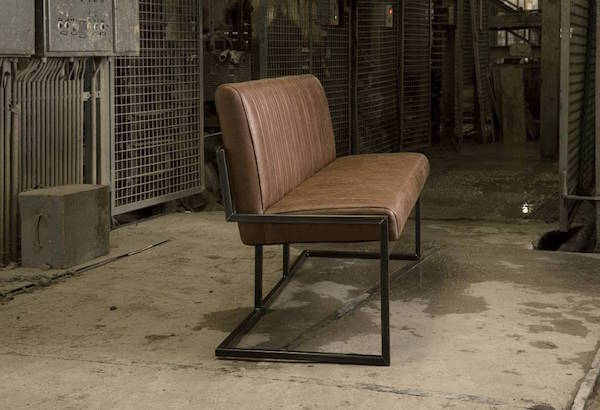 Ferro Industrial dining bench in Vintage leather look fabric setting